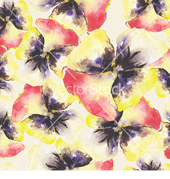Free pattern with watercolor flowers vector - vector gratuit(e) #232995