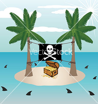 Free treasure chest in a small remote island with vector - vector gratuit #233335
