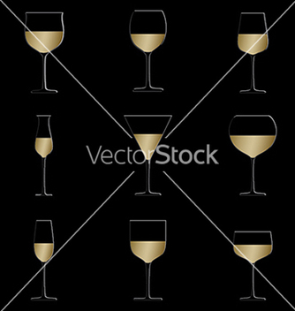Free different glasses of white wine set isolated in vector - Kostenloses vector #233415