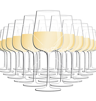 Free glass of white wine isolated in white background vector - Kostenloses vector #233435