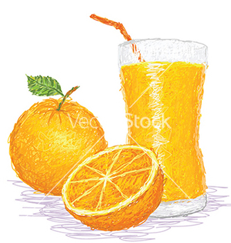 Free closeup of a fresh orange fruit and a glass of vector - Free vector #233645