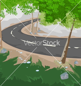 Free forest and road vector - vector gratuit #233935