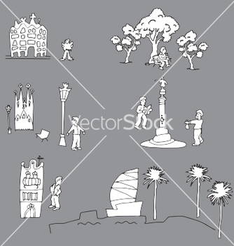 Free tourist in barcelona vector - Free vector #233945