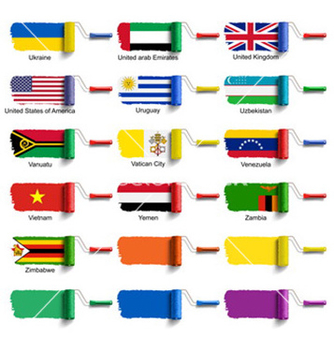 Free roller brush with flag vector - Free vector #234155