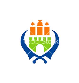 Free castle sword emblem logo vector - Free vector #234185