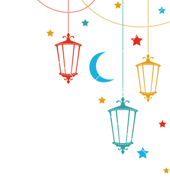 Free greeting card for ramadan kareem with lamps vector - Free vector #234435