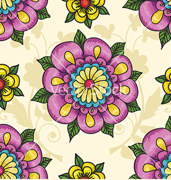 Free pattern with flowers on a yellow background vector - vector gratuit(e) #234615