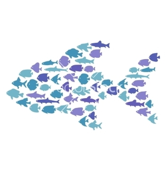 Free simple plain style big fish mosaic vector - vector gratuit #234745