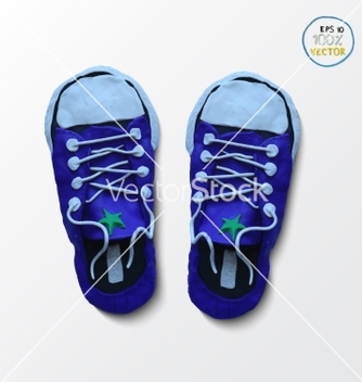 Free pair of blue simple sneakers example gumshoes vector - Free vector #234955