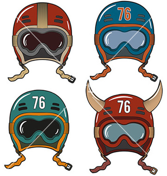 Free racing helmets in oldschool vector - Free vector #235055