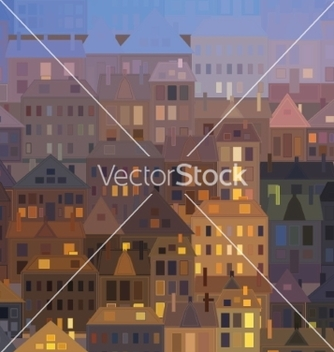 Free night city background vintage houses vector - Kostenloses vector #235285