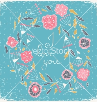 Free floral wreath beautiful greeting card with floral vector - vector gratuit(e) #235585