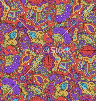 Free fantasy colourful doodle seamless pattern vector - Free vector #235805