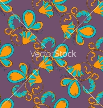 Free seamless flower with butterfly on violet vector - Kostenloses vector #235815