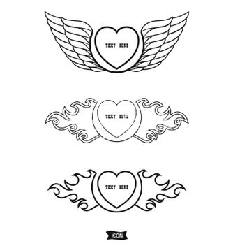 Free love heart heraldic icon vector - Free vector #236165