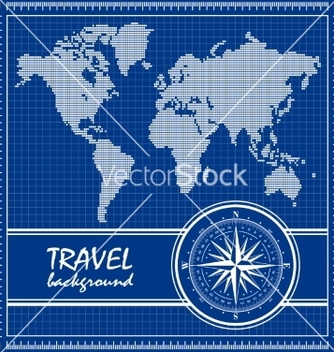 Free blue travel background with dotted world map and vector - бесплатный vector #236335