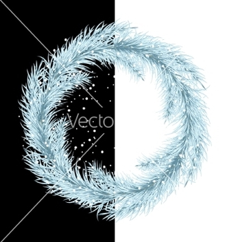 Free white christmas tree wreath spruce branches vector - Free vector #236395