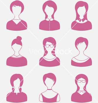 Free avatars set front portrait of females isolated on vector - Free vector #236415