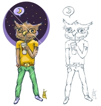 Free night owl a person who goes to bed late vector - Free vector #236495