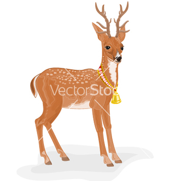 Free christmas reindeer polar animal with bell vector - Kostenloses vector #236565