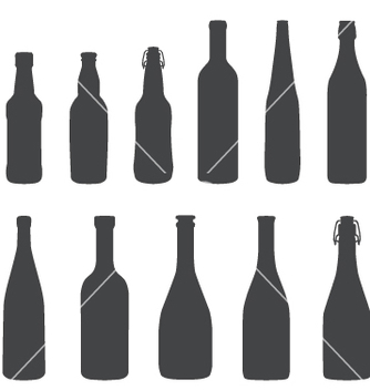 Free alcohol bottles silhouette set vector - Free vector #237185