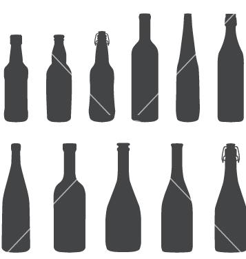 Free alcohol bottles silhouette set vector - Kostenloses vector #237185
