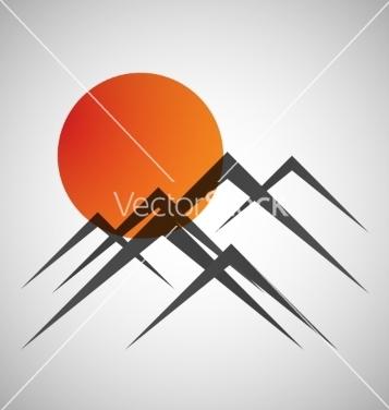 Free mountains and sun icon vector - vector #237485 gratis