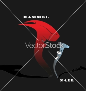 Free hammer and nail cartoon hand drawn vector - бесплатный vector #238135