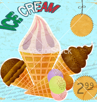 Free vintage card with a picture of ice cream vector - Free vector #238145