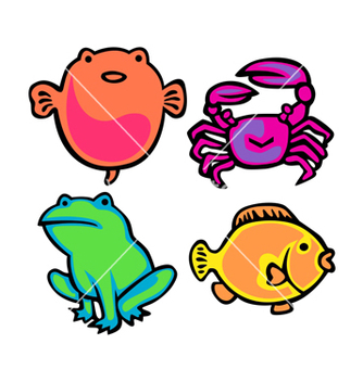 Free cute water animals pack vector - Free vector #238515