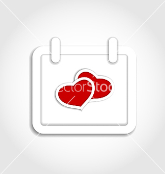 Free calendar icon for valentines day with hearts vector - vector gratuit #238955