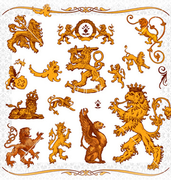 Free heraldic lions vector - Free vector #242275