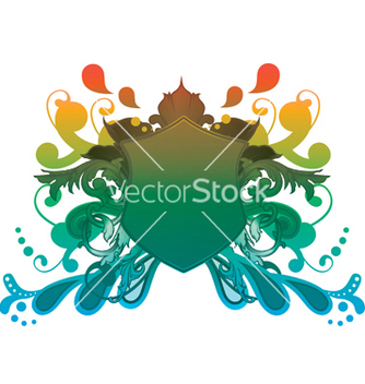 Free shield with floral vector - Kostenloses vector #244125