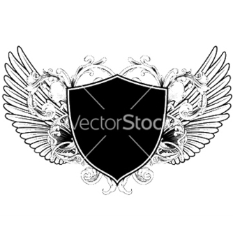 Free wings with shield vector - Kostenloses vector #244165