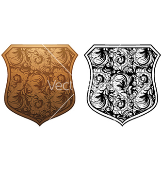 Free shield with floral vector - Kostenloses vector #244605