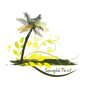 Free summer with palm tree vector - Kostenloses vector #246455