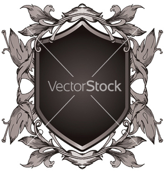 Free shield with floral vector - Kostenloses vector #247605