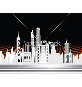 Free city with rays vector - vector gratuit #249305