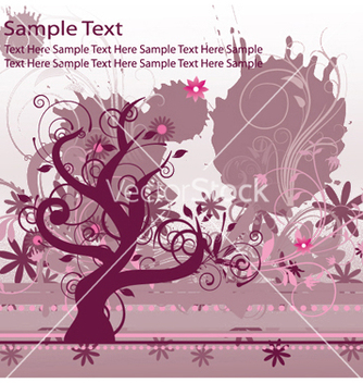 Free grunge floral background with tree vector - Free vector #250155