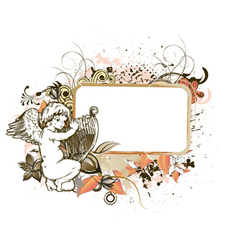 Free angel with floral frame vector - Free vector #250305