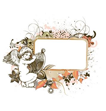 T l chargement du vecteur gratuit ange gratuit avec le for Cadre floral mural