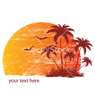 Free vintage summer background with palm trees and vector - Free vector #251125