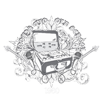 Free vintage music tshirt design vector - vector #253375 gratis