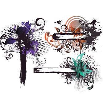 Free grunge floral frames set vector - Free vector #253705