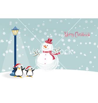Free snowman with penguins vector - vector gratuit #254355