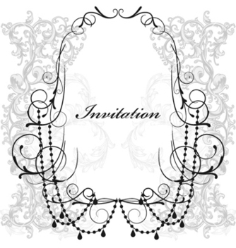Free vintage invitation with floral vector - Kostenloses vector #254445