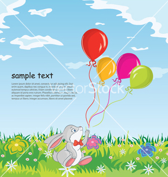 Free rabbit with baloons vector - Kostenloses vector #255455