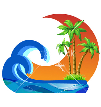 Free summer with palm trees vector - Free vector #255735