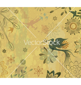 Free vintage floral background with bird vector - Kostenloses vector #256405