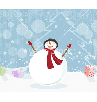 Free snowman with tree vector - Free vector #258165
